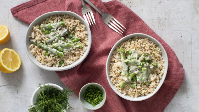 Asparagus and Rice with Lemon Butter Sauce