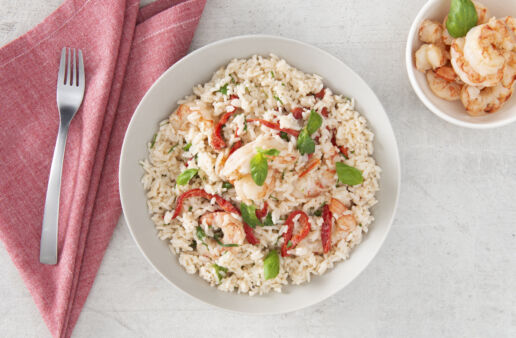 Roasted red pepper rice with basil, shrimp and Alfredo
