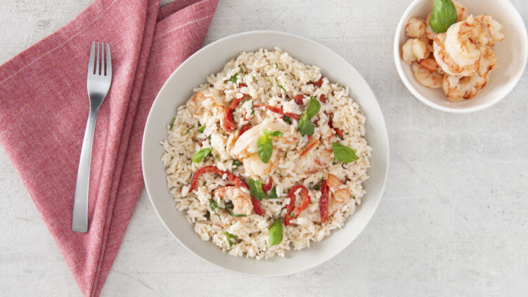 Basil, Roasted Red Pepper and Rice Alfredo