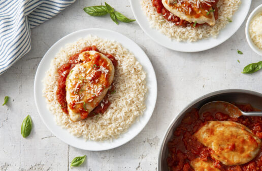Bistro herbed chicken and rice with tomatoes and garlic