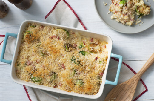 White Rice casserole with brussels sprouts, ham and cheese