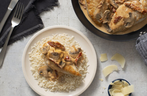 Creamy Parmesan chicken and rice dinner
