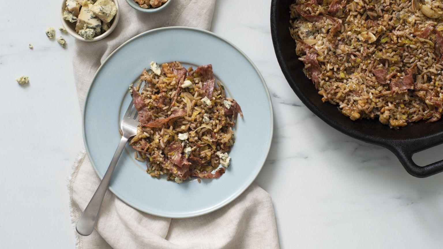 Leek, Blue Cheese and Soppressata Rice