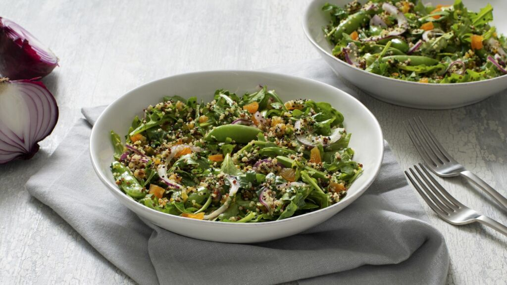 Quinoa salad with apricots, snap peas and homemade vinaigrette
