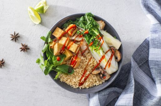 Vegetarian Pho Rice Bowl with tofu and jasmine