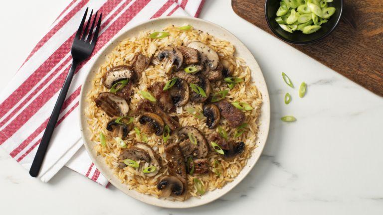 Peppercorn Steak and Mushroom Fried Rice