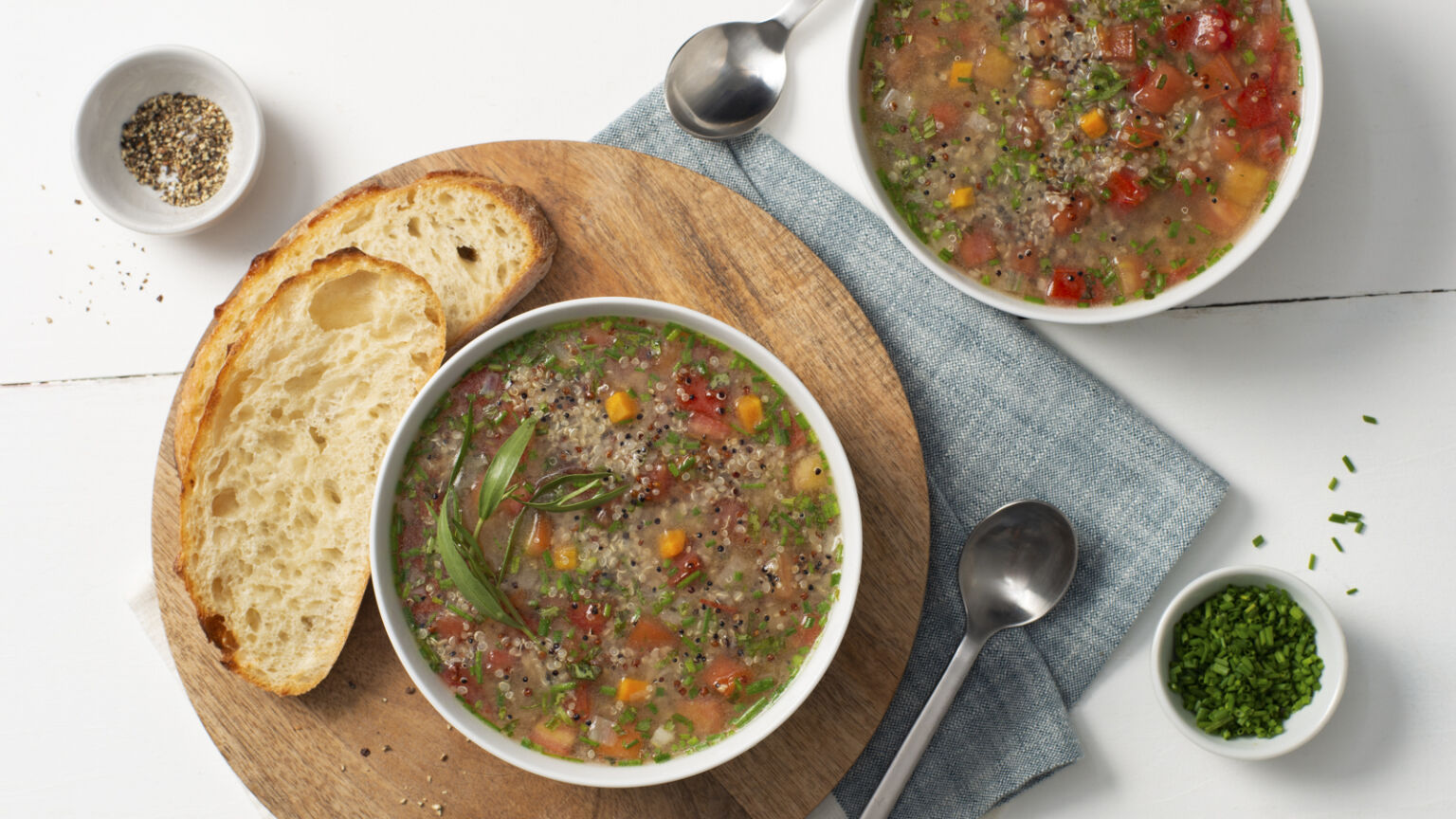 French Herb Tomato Soup with Quinoa