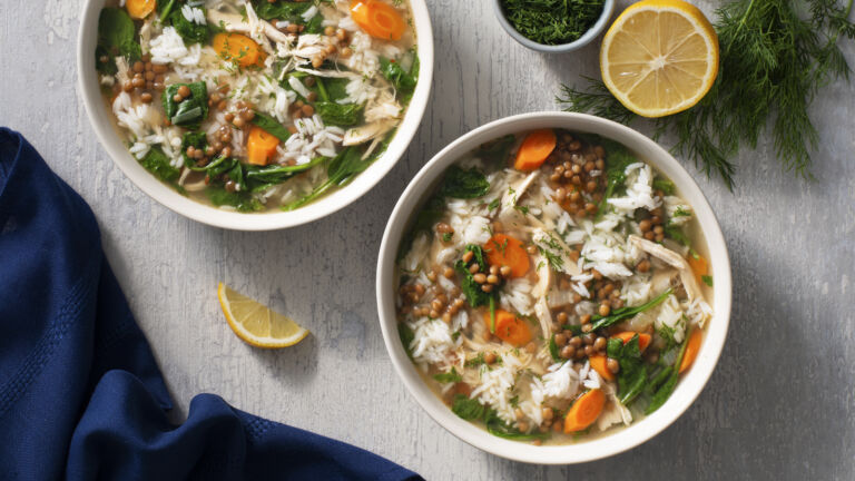 Hearty Chicken, Lentil and Rice Soup