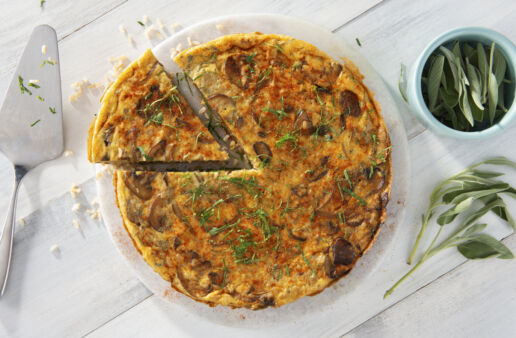 Tortilla Española with brown rice and Manchego cheese