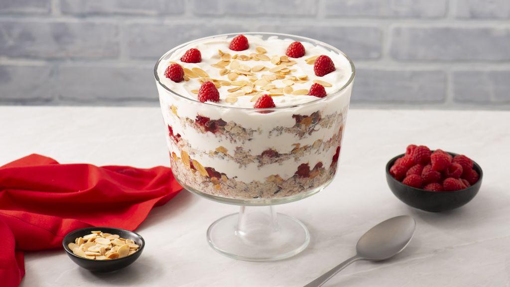 Cran-raspberry quinoa rice pudding trifle