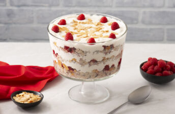 Cran-raspberry quinoa rice pudding trifle