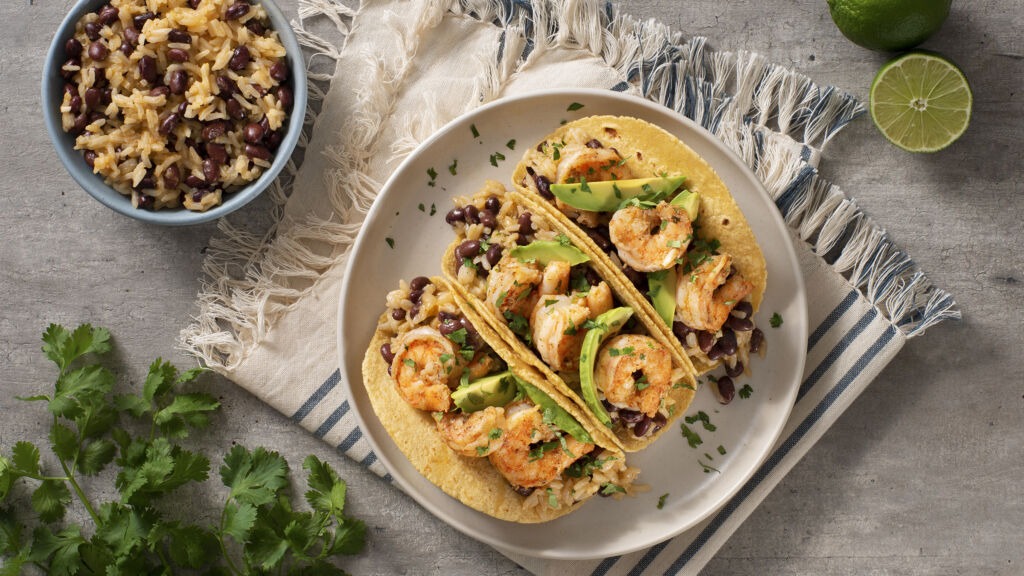 cuban-inspired-shrimp-tacos-with-avocado-black-beans-and-jasmine-rice