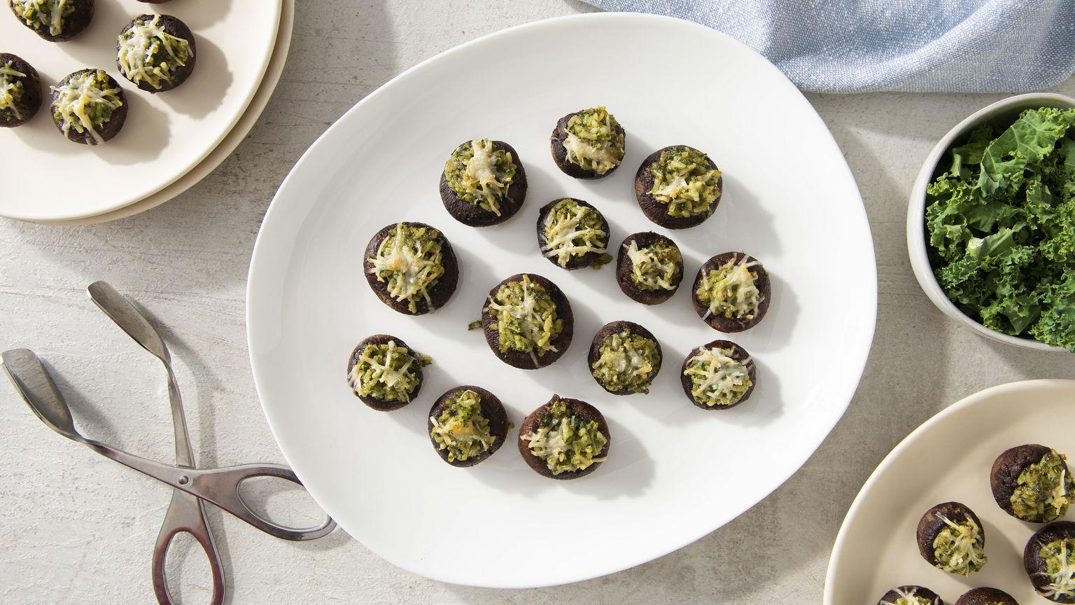 Kale Pesto Stuffed Mushrooms