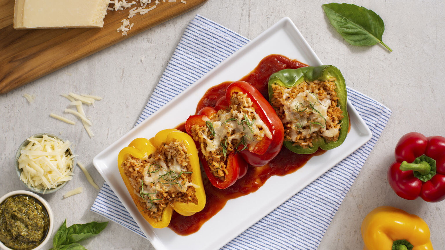 Parmesan Rice Stuffed Peppers