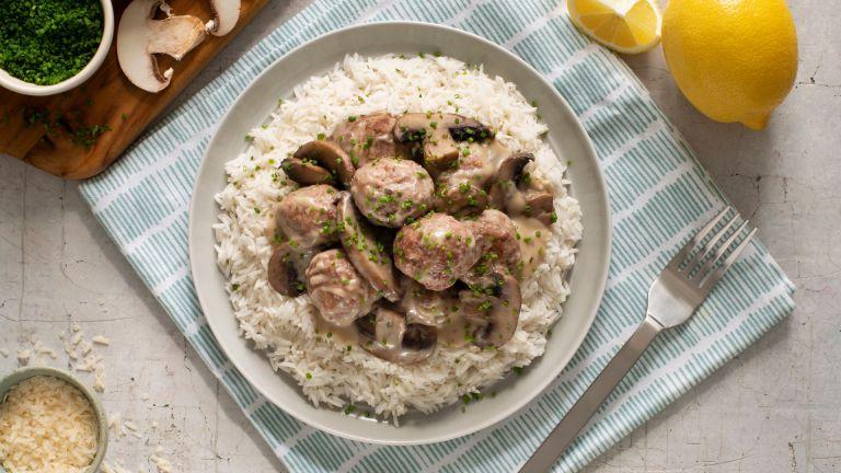 Mushroom and Meatball Stew with Basmati Rice