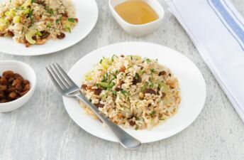 brown-rice-with-honey-nut-dressing-and-raisins