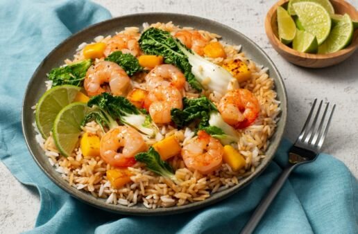 shrimp-fried-rice-with-fresh-mango-bok-choy-ginger-root-and-lime