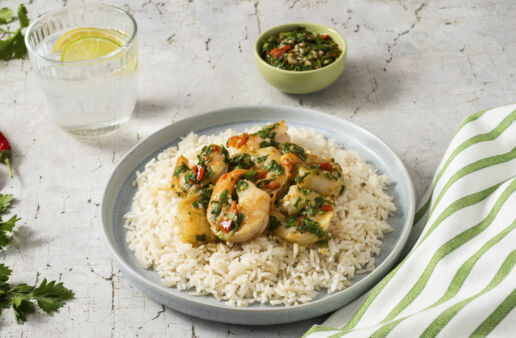 white-rice-bowl-topped-with-shrimp-and-chimichurri-sauce