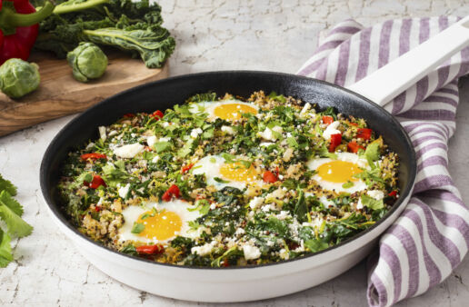 green-shakshuka-with-kale-brussels-sprouts-feta-cheese-and-quinoa