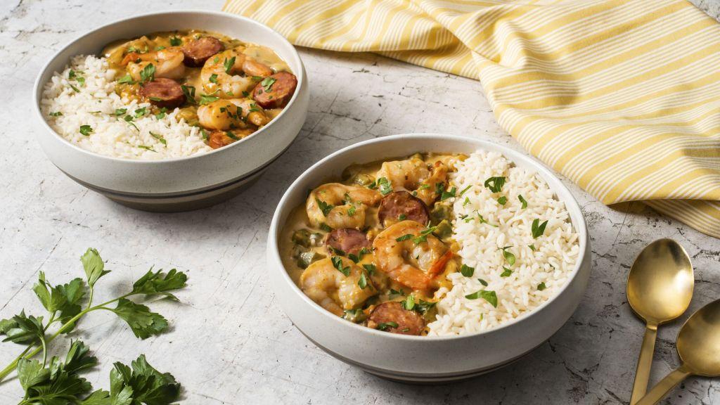 new-orleans-inspired-gumbo-with-chorizo-shrimp-and-white-rice