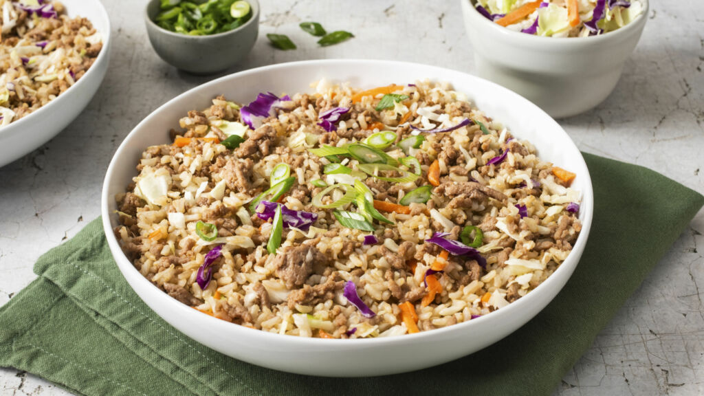 Turkey-egg-roll-in-a-bowl-with-brown-rice-and-coleslaw-mix