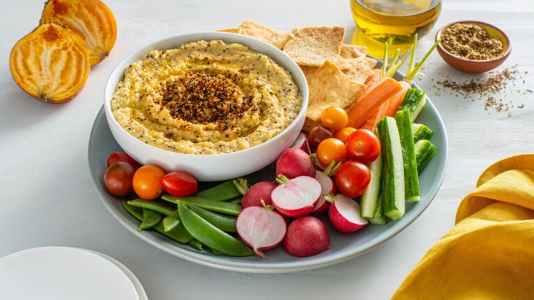 Creamy Golden Beet Hummus with Toasted Quinoa