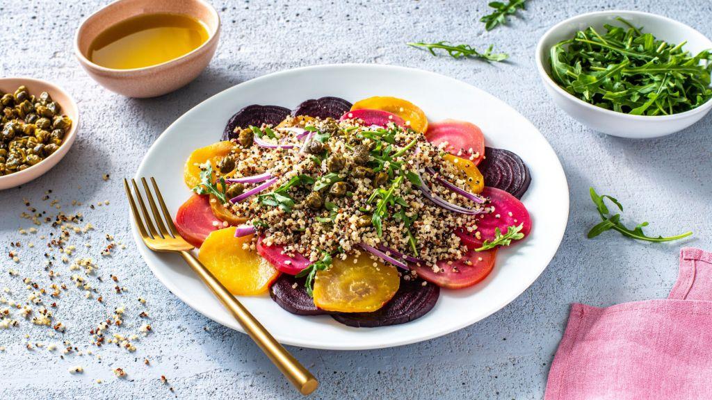 vegetarian-carpaccio-with-beets-arugula-and-quinoa