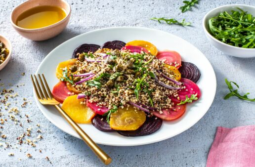 vegetarian-carpaccio-with-beets-arugula-and-quinoa