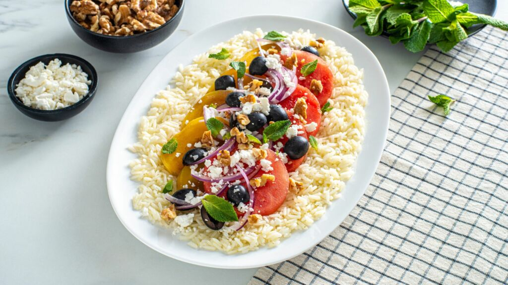 jasmine-rice-salad-with-beets-watermelon-black-olives-and-feta-cheese