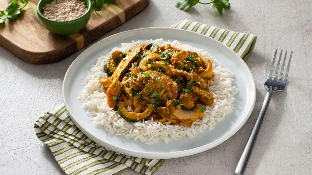 mushroom-korma-served-over-basmati-rice