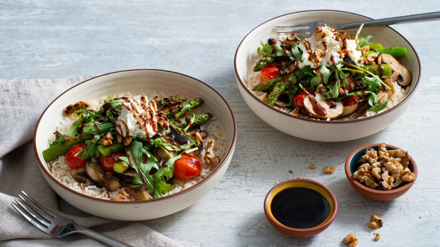 Roasted Asparagus and Mushroom Rice Bowl
