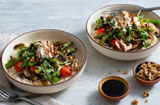 rice-bowl-with-roasted-asparagus-mushrooms-grape-tomatoes-fresh-arugula-and-balsamic-dressing