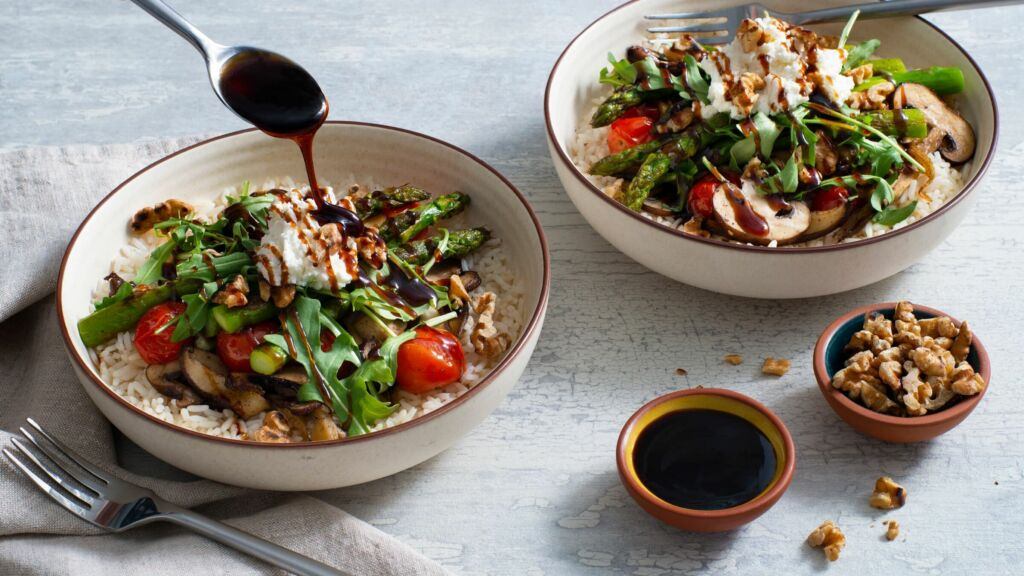 rice-bowl-with-roasted-asparagus-mushrooms-and-tomatos-with-a-drizzle-of-balsamic-glaze