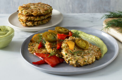 zucchini-and-basmati-rice-latkes-with-vegetables-and-avocado-cream-tex-mex-style