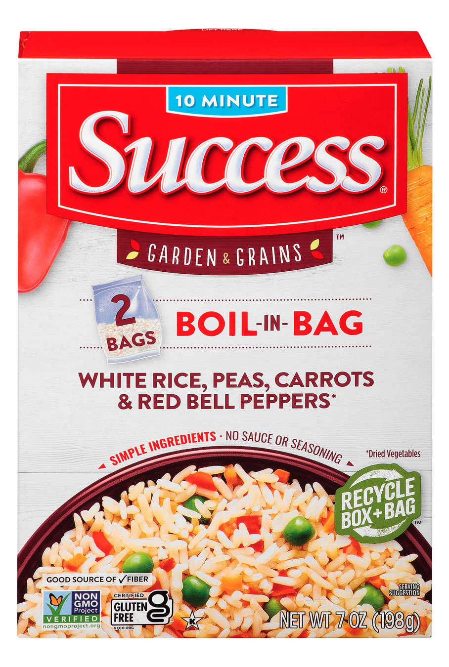 White Rice, Peas, Carrots & Red Bell Peppers