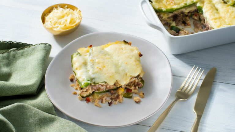 Beef and Rice Chile Relleno Casserole