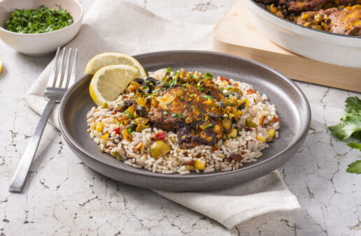 chicken-tagine-skillet-with-white-rice-black-beans-corn-and-bell-peppers