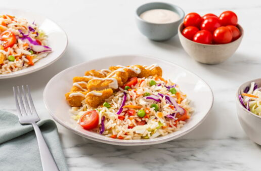 rice-salad-with-fried-chicken-shredded-cole-slaw-mix-cherry-tomatoes-and-ranch-dressing