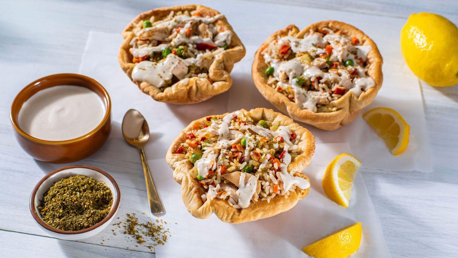 Mediterranean Chicken and Rice Pita Bowls