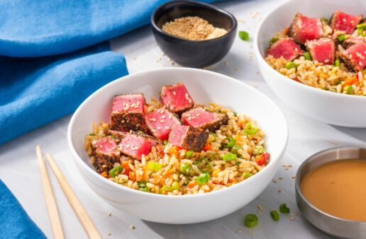 rice-bowl-topped-with-peppered-seared-tuna-and-poke-sauce-with-success-garden-and-grains