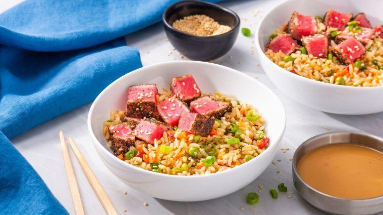 Peppered Seared Tuna (Poke) and Rice