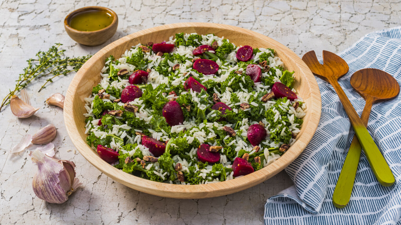 Beet, Kale and Jasmine Rice Salad with Cider Dressing
