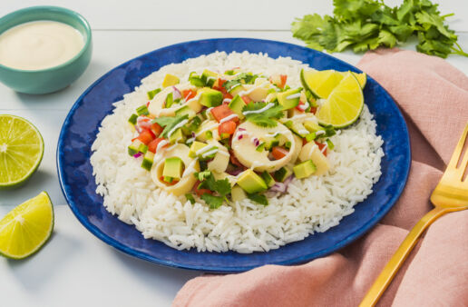 Hearts-Of-Palm-Ceviche-with-Yuzu-and-jasmine-rice